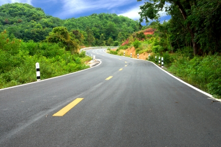 rains: Winding Road to the hills. Stock Photo