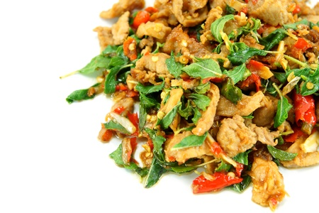 Basil fried pork  Thai food  photo
