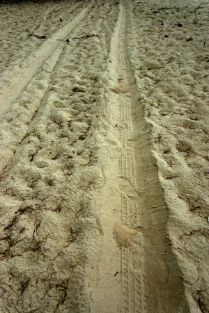 Wheel tracks in the sand. photo