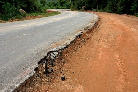 The road begins collapse. photo