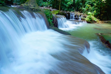 The small waterfall and rocks in Than Bok Khorani National Park, Thailand. photo