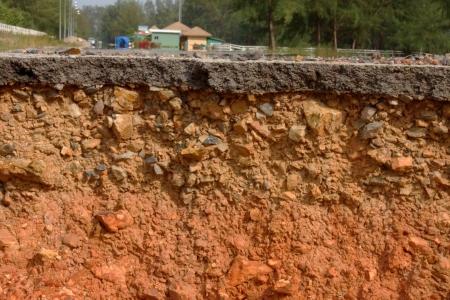 canyon walls: Road cracks and disintegrates. Stock Photo