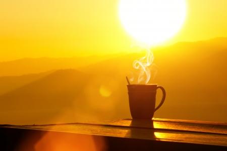 Silhouettes on sunrise morning coffee.