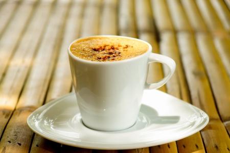 morning coffee on bamboo Stock Photo