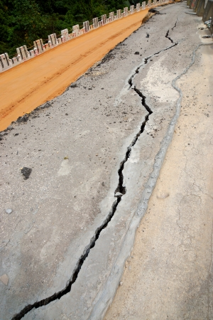 crevice: The asphalt road surface crack due to ground collapsing  Stock Photo