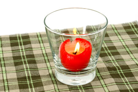 Red candles in glass tableware  photo