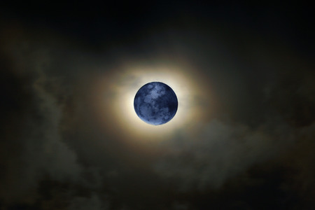 moon eclipse in the night Stock Photo