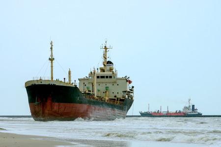 Ocean vessels embedded because monsoon. photo