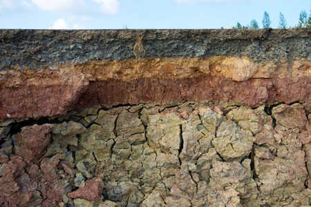 The curb erosion from storms  To indicate the layers of soil and rock  photo