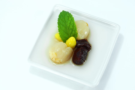 agar: Agar dessert with Fruit and Mint leaves