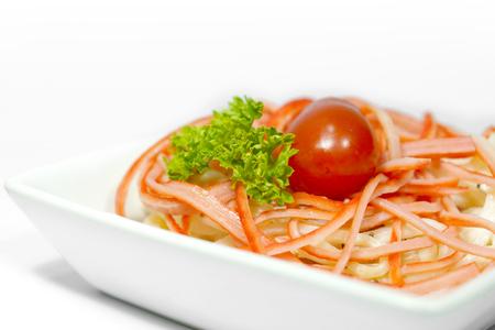 japanese cookery: crab meat salad closeup