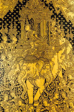 Three-headed elephant paintings on windows in Thailand Buddha Temple, Asian Buddha style art.