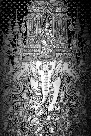 Ancient Thai pattern on wall in Thailand Buddha Temple , Asian Buddha style art photo