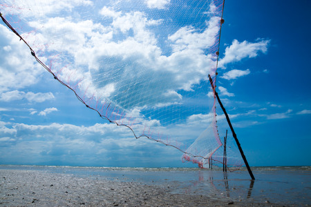 trawl: Fishing Net on the beaches at the cape in Southern of Thailand