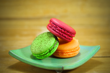 traditional french colorful macarons photo