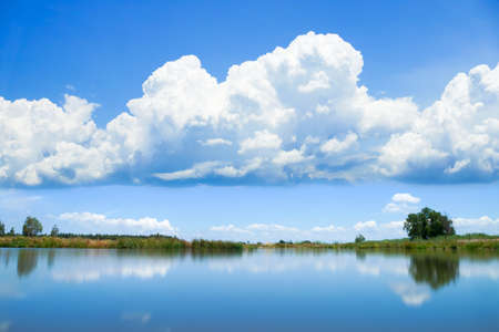 Sky reflected in water photo