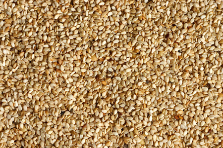 White sesame seeds .