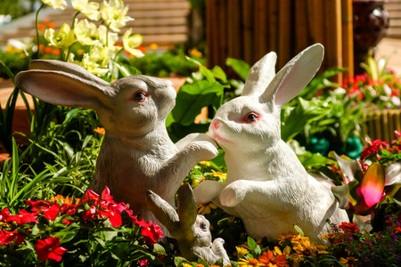 Handmade rabbit dolls on the flower  photo