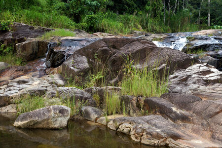 The rock and grass in waterfall at Kra Chong national park, Trang province, Thailand. photo