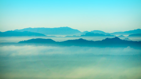Mountain and mist at Kra-bi, Thailand photo