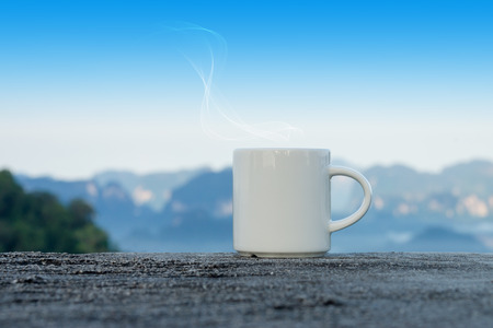 morning coffee on the rock photo