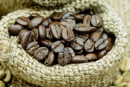 Roasted coffee beans. photo