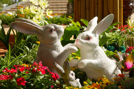 Handmade Rabbit in the garden. photo