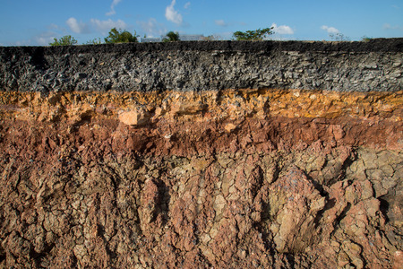 underground: The curb erosion from storms. To indicate the layers of soil and rock.
