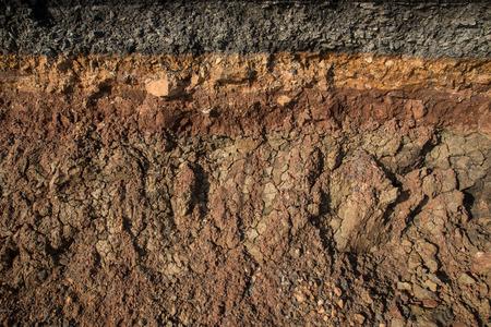 Obrubník eroze z bouří. Chcete-li označit vrstvy půdy a hornin.