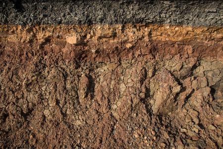 red soil: The curb erosion from storms. To indicate the layers of soil and rock.
