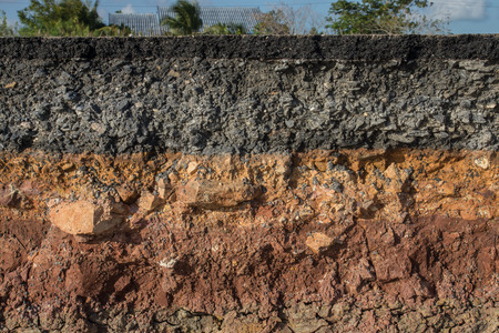 The curb erosion from storms. To indicate the layers of soil and rock. Stock Photo - 35517678