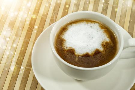 morning coffee on bamboo mat. photo