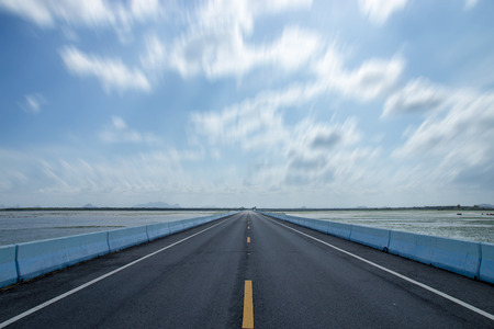 Empty road with blue sky. photo