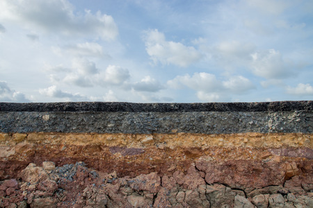 soil erosion: The curb erosion from storms. To indicate the layers of soil and rock.