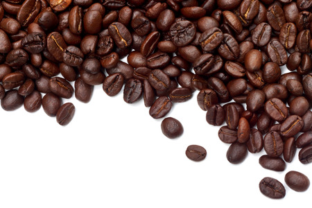 Coffee beans on the white background.