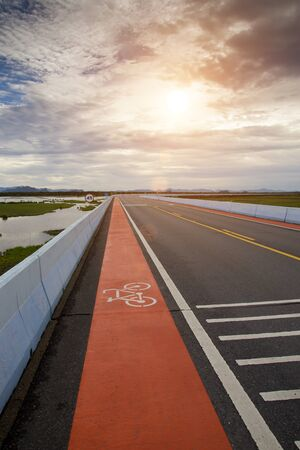 lanes: Bicycle Lanes with sunlight.