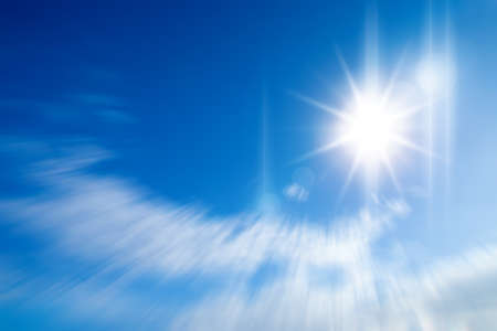could: Blue sky and sun with motion could Stock Photo