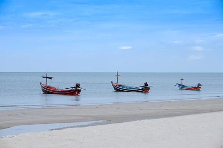 afloat: Fishing boats on the Quiet sea, Thailand. Stock Photo