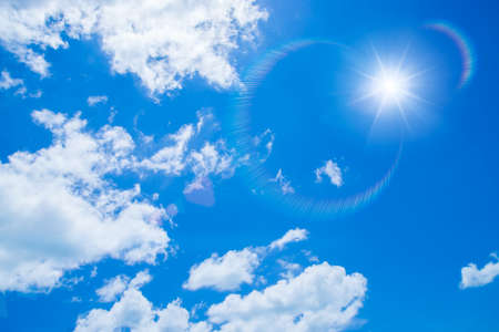 could: Blue sky with white could and sun. Stock Photo