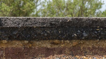 rock layers: The curb erosion from storms. To indicate the layers of soil and rock.