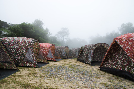 mist: Tent camping in the mist.