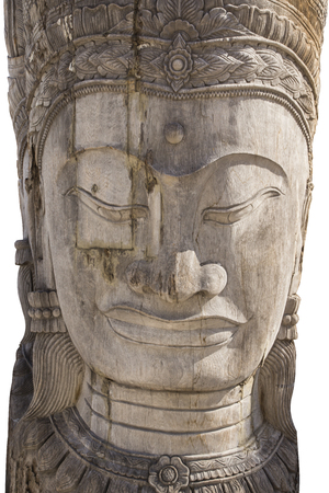 buddha face: Buddha face,wood-carving of the old wooden. Stock Photo