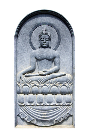 carved: Buddha carved from marble reliefs. Stock Photo