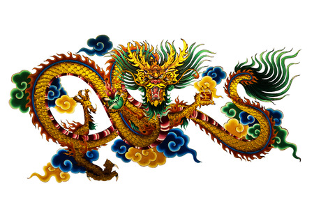 shrine: Dragon Painting about the religious beliefs of the Chinese shrine. (public places) Stock Photo