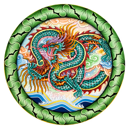 beliefs: Dragon Painting about the religious beliefs of the Chinese shrine. (public places) Editorial