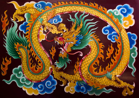 beliefs: Dragon Painting on wood about the religious beliefs of the Chinese shrine. (public places)