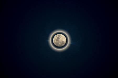lunar eclipse: Lunar eclipse on the deep blue sky. Stock Photo