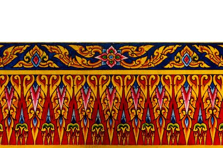 thailand culture: Traditional Thai style painting art on temple wall. Thailand Stock Photo