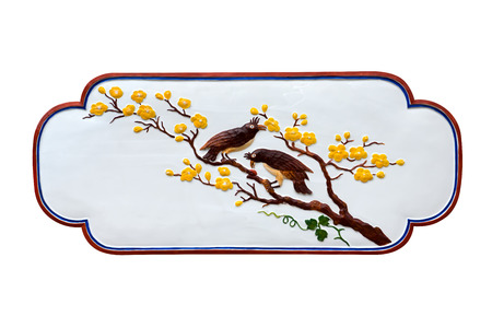 shrine: Two Birds on branch of Chinese art in public shrine. (public places), Isolate on white background.