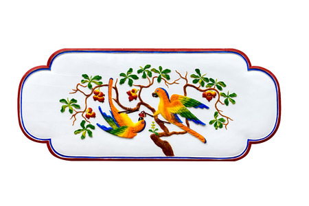 Two Birds on branch of Chinese art in public shrine. (public places), Isolate on white background.